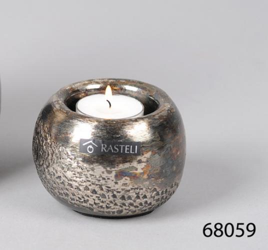 bougeoir boule métal pour bougie chauffe plat
